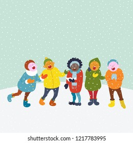 Cute children walk outside and singing christmas songs. Winter vector background with snow.