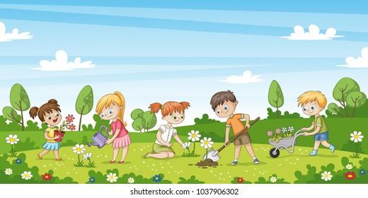 Cute children work in the garden. Funny cartoon character.