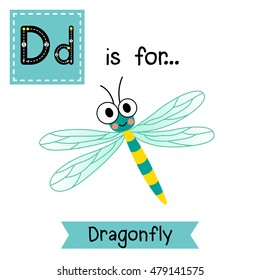 Cute children zoo alphabet D letter tracing of Dragonfly insect for kids learning English vocabulary.