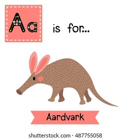 Cute children zoo alphabet A letter tracing of walking Aardvark for kids learning English vocabulary.