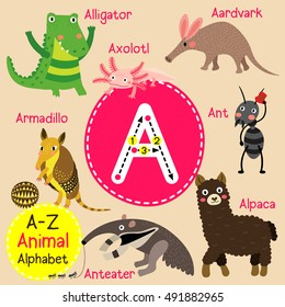 Cute children zoo alphabet A letter tracing of funny animal cartoon for kids learning English vocabulary.