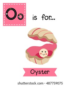 Cute children zoo alphabet O letter tracing of Oyster with a pearl for kids learning English vocabulary.