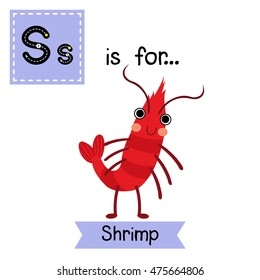 Cute children zoo alphabet S letter tracing of standing Shrimp for kids learning English vocabulary.