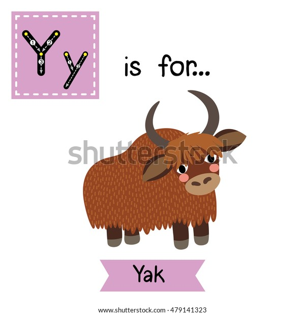 Cute children zoo alphabet Y letter tracing of Yak for kids learning English vocabulary.