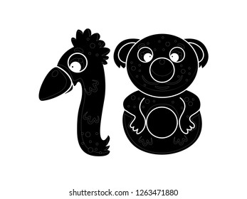 cute children's character numbers, vector silhouettes, number eighteen