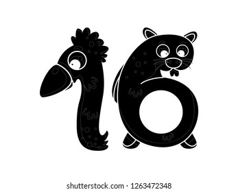 cute children's character numbers, vector silhouettes, number sixteen