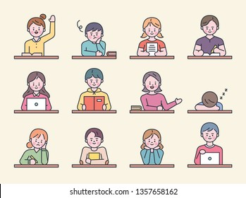 Cute children's characters sitting at the desk studying. flat design style minimal vector illustration