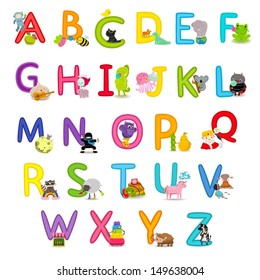 Cute childrens english alphabet - fun cartoon animals and food. Back to school.
