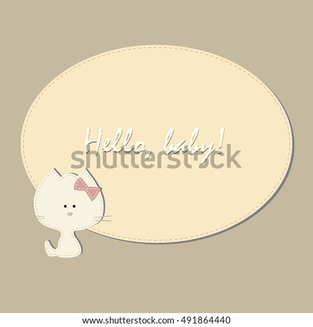 Cute Childrens Oval Frame Kitten Template Stock Vector Royalty Free