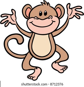 cute chimpanzee monkey vector illustration