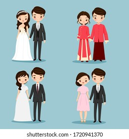cute Chinese couple cartoon character collection set,vector illustration for wedding invitation card design