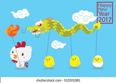 Cute Chinese dragon dance by zodiac character fire rooster and chicken vector illustration for chinese new year themed greeting card or post card