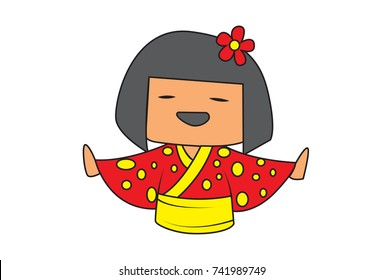 Cute Chinese Girl Character . Vector Illustration. Isolated on white background.