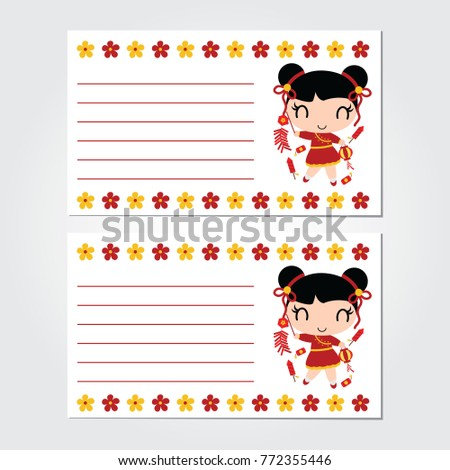 cute chinese girl plays firecrackers with flowers border vector cartoon illustration for chinese new year card