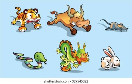cute chinese horoscope vector