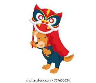 Cute Chinese New Year 2018, Male Dog Character Illustration
