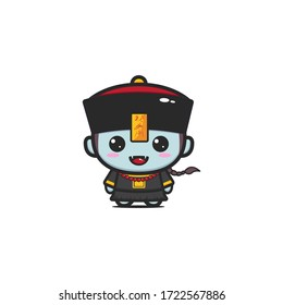 Cute chinese zombie or vampire isolated on white. vector illustration. cartoon character. (caption: chinese zombie)
