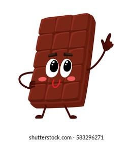 Cute chocolate bar character with funny face, speaking and pointing up, cartoon vector illustration isolated on white background. Funny chocolate character, mascot, emoticon