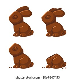 Cute chocolate bunny in different stages of being eaten: with a little bite, then ear and head bitten off. Traditional Easter treat, isolated vector illustration.