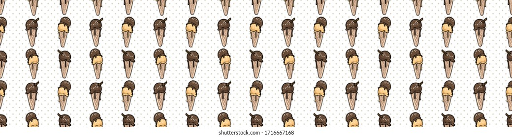 Cute chocolate and caramel ice cream cartoon seamless vector border. Hand drawn melting summer treat. Cold gelato dessert all over print on check background. Sweet dairy soft serve kids illustration.