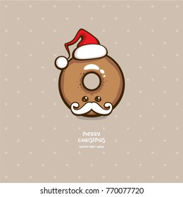 Cute chocolate donut with santa hat. Funny cartoon character. Template for christmas greeting card, dessert menu and holiday decoration.