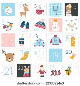 Cute Christmas advent calendar. Holiday graphic. Vector hand drawn illustration.