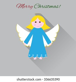 Cute Christmas angel. Flat design illustration