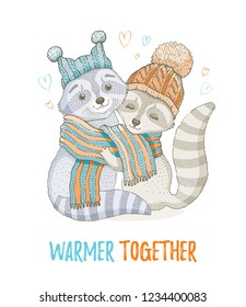 Cute Christmas animal, forest raccoon couple in knitted scarf. Merry Xmas cartoon woodland icon. Happy . For girl t-shirt print, poster design, card. Hand drawn symbol, vector illustration isolated