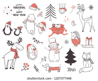 Cute Christmas Drawings.Christmas Element Drawing Images Stock Photos Vectors