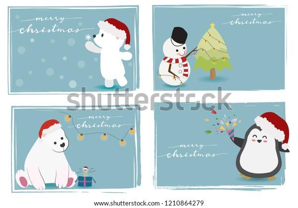 Merry Christmas Animals.Cute Christmas Animals Snowman Merry Christmas Stock Vector Royalty