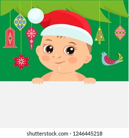 Cute Christmas Baby Vector Illustration. Christmas Cartoon Baby Background With Decoration Christmas Tree. Little Baby In Santa Hat Holding Banner Board.