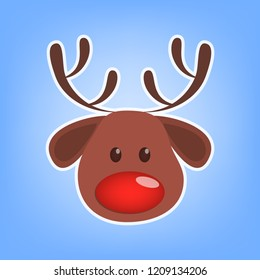 Cute christmas brown reindeer head. Animal with big red nose. Winter holiday celebration. Isolated flat vector illustration