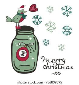 Cute Christmas card with a bird sleeping on top of jar