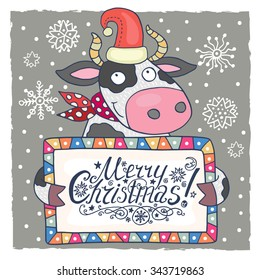 Cute christmas card with cow