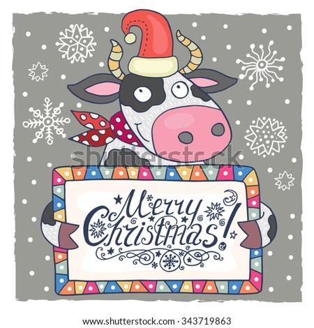 Cute Christmas Card Cow Stock Vector (Royalty Free) 343719863 ...