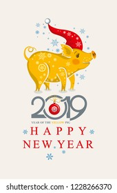 Cute Christmas card with a funny Pig in the Santa Cap and snowflakes. New Year's design. 2019 Year of the pig in the Chinese calendar.