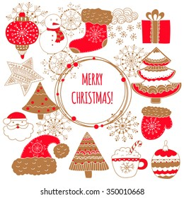 Cute Christmas card with golden snowflakes, mittens, a cap of Santa Claus, trees, toys.