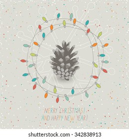 cute christmas card with christmas lights and pine cone