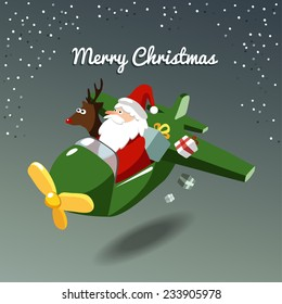 Cute christmas card with santa claus and reindeer flying the plane, vector illustration background