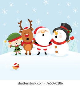 Cute Christmas Card With Santa Snowman Reindeer and Elf