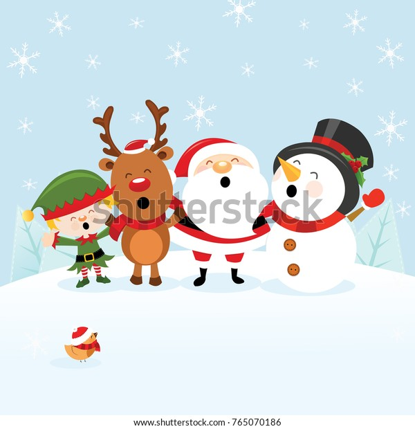 Cute Christmas Card With Santa Snowman Reindeer and Elf