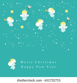 Cute christmas card with sweet small angels