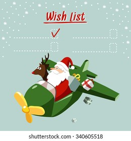 Cute christmas card, wish list with Santa Claus and reindeer flying the plane, delivering gifts, vector illustration background