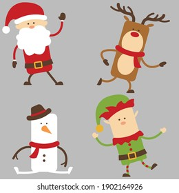 Cute christmas cartoon characters have santa claus, reindeer, snowman and elf