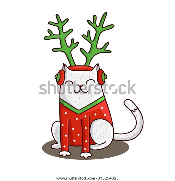 Cute Christmas Cat Hat Deer Golden Stock Vector Royalty Free 338254325