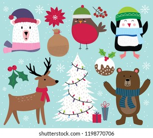 Cute Christmas character, reindeer, tree, penguin, bear, robin and Christmas ornament decoration, vector illustration