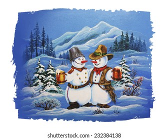 Cute Christmas Characters Cowboy Snowman And Soldier Snowman Drinking Beer Christmas Card