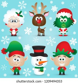 Cute Christmas Characters Santa Claus, reindeer, elves, Mrs. Claus, Snowman, gifts Vector illustration Set