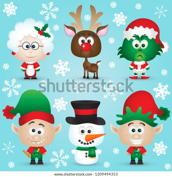 Cute Christmas Characters Santa Claus Reindeer Stock Vector