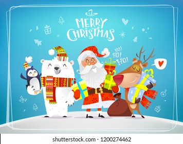 Cute Christmas characters Santa, Reindeer and Polar Bear on blue  holiday background. Vector Christnas Greeting card 2019 year. Template for Holiday party Poster, invitation and congratulations